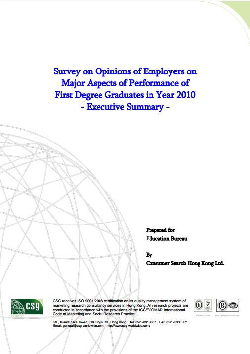 Survey on Opinions of Employers on Major Aspects of Performance of First Degree Graduates in Year 20