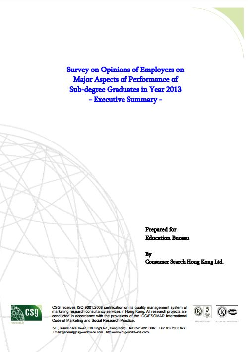 Survey on Opinions of Employers on Major Aspects of Performance of Sub-degree Graduates in Year 2013